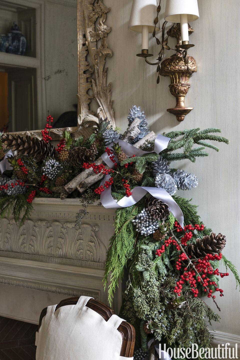 <p>Layer pine, spruce, and juniper for a fuller garland. Birch twigs, winterberry, and silvery pinecones add sparkle. </p>