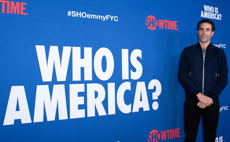 "British actor Sacha Baron Cohen attends For Your Consideration Red Carpet Event for The Showtime Series ""Who is America"" on May 15, 2019 in Los Angeles, California. (Photo by VALERIE MACON / AFP) (Photo credit should read VALERIE MACON/AFP/Getty Images)"