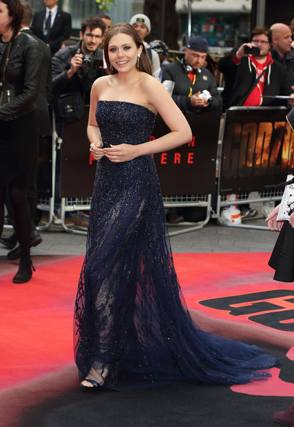 """Olsen at the European premiere of """"Godzilla"""" in London on May 11, 2014."""