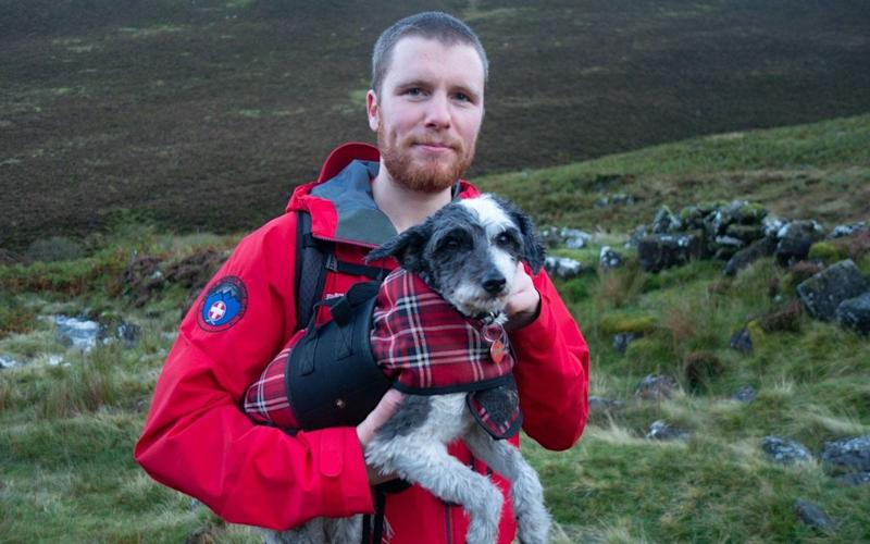 The nine-year-old terrier was exhausted after a long day walking in the rain - Keswick Mountain Rescue Team