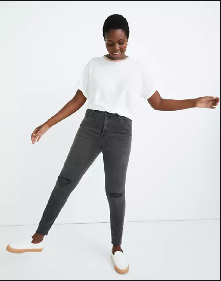 """<p><strong>Madewell</strong></p><p>madewell.com</p><p><a href=""""https://go.redirectingat.com?id=74968X1596630&url=https%3A%2F%2Fwww.madewell.com%2Fcurvy-high-rise-skinny-jeans-in-black-sea-H6389.html&sref=https%3A%2F%2Fwww.elle.com%2Ffashion%2Fshopping%2Fg34276887%2Fmadewell-jeans-sale-october-2020%2F"""" rel=""""nofollow noopener"""" target=""""_blank"""" data-ylk=""""slk:SHOP IT"""" class=""""link rapid-noclick-resp"""">SHOP IT</a></p><p><strong><del>$128</del> $75 (41% off)</strong></p><p>Lifelong skinny jean lovers will most likely already be familiar with (and own!) Madewell's beloved curvy high-rise skinny jeans. As one reviewer wrote: """"Not only do they fit perfectly in the waist but my thighs don't feel restricted at all. They are so comfortable and flattering!"""" Another reviewer likened finding these to a dream come true: """"The curvy high-rise skinny jean is the denim I have literally been waiting my whole thunder-thigh life for.""""</p>"""