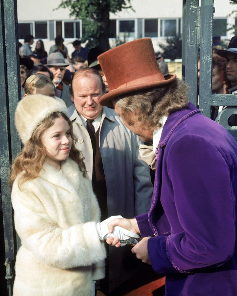 From right to left, actors Gene Wilder as Willy Wonka, Roy Kinnear as Mr. Salt and Julie Dawn Cole as Veruca Salt in the film 'Willy Wonka & the Chocolate Factory', 1971. (Photo by Silver Screen Collection/Getty Images)