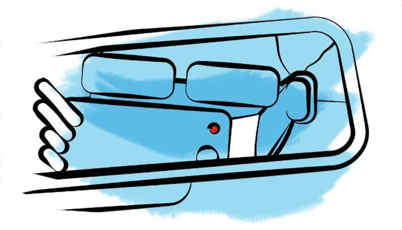 Illustration of a woman recording on her cellphone, reflected on car rear view mirror.