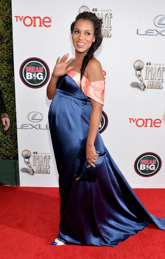 PASADENA, CA - FEBRUARY 22: Actress Kerry Washington attends the 45th NAACP Image Awards presented by TV One at Pasadena Civic Auditorium on February 22, 2014 in Pasadena, California. (Photo by Alberto E. Rodriguez/Getty Images for NAACP Image Awards)