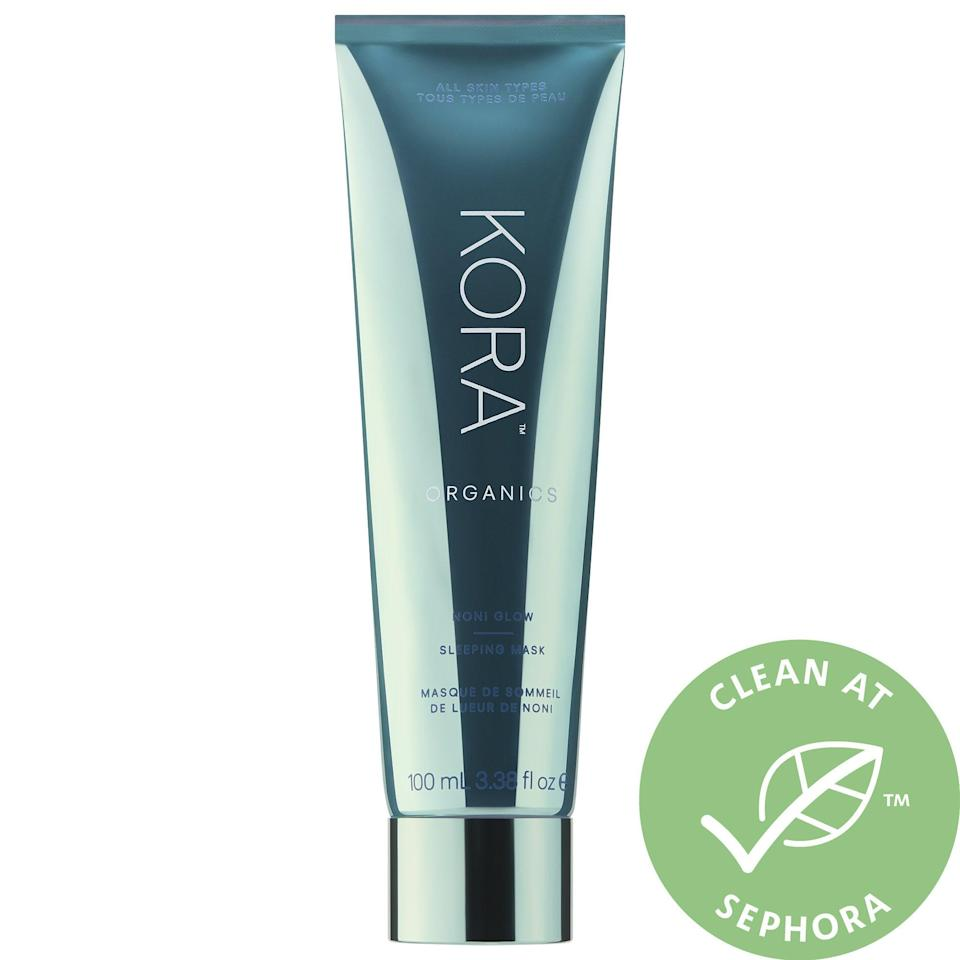 <p>If I want a real glow, this <span>Kora Organics Noni Glow Sleeping Mask</span> ($48) is it. I apply it on top of my moisturizer, and the results the next morning are pretty incredible.</p>