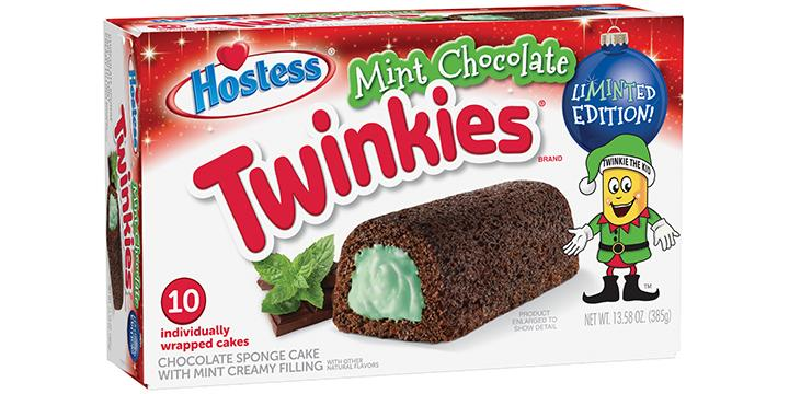Mint-flavored seasonal food items are hitting shelves, starting with Hostess' mint chocolate Twinkies (Credit: Hostess)