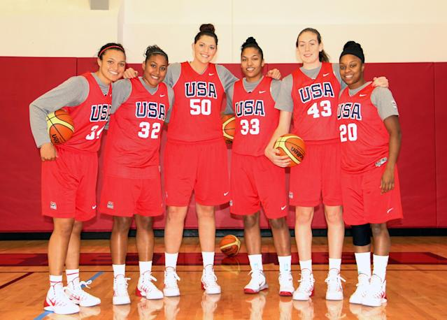 This Oct. 6, 2013 photo provided by USA Basketball shows, from left, Notre Dame's Kayla McBride; UConn's Kaleena Mosqueda-Lewis; UConn's Stefanie Dolson; Maryland's Alyssa Thomas; UConn's Breanna Stewart and Baylor's Odyssey Sims, at training camp in Las Vegas. The six college players invited to the US national women's basketball training camp admitted they were a little nervous at the chance to play with the pros. (AP Photo/USA Basketball, Carolina Williams)