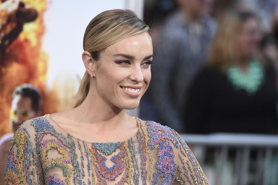 """Jessica McNamee arrives at the Los Angeles premiere of """"CHIPS"""" at the TCL Chinese Theatre on Monday, March 20, 2017. (Photo by Jordan Strauss/Invision/AP)"""