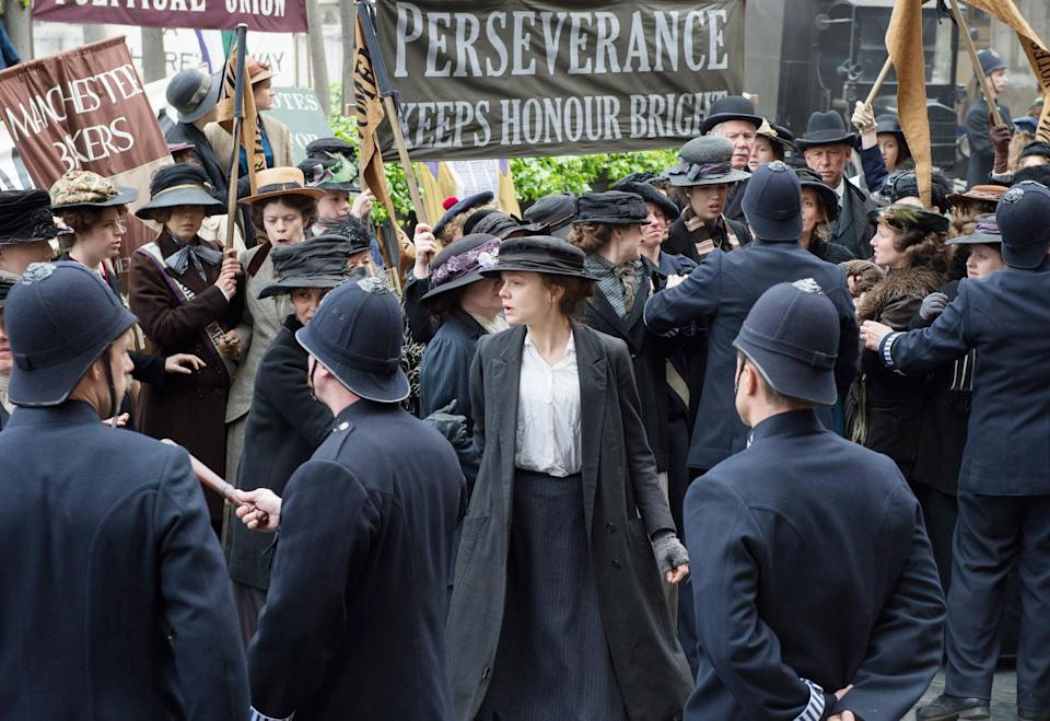 "<p>In early 20th-century England, a young suffragette's ideals are shattered when she encounters the reality of the opposition to giving women the right to vote. Over time, she begins joining in with more radical and outspoken activists, including some of the most famous suffragettes of the era, even as they face more and more severe threats to their livelihoods and lives.</p> <p><a href=""http://www.netflix.com/title/80046819"" class=""link rapid-noclick-resp"" rel=""nofollow noopener"" target=""_blank"" data-ylk=""slk:Watch Suffragette on Netflix now."">Watch <strong>Suffragette</strong> on Netflix now.</a></p>"