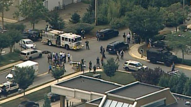 PHOTO: First responders gather at the scene of a reported shooting in Annapolis, Md., June 28, 2018. (WJLA)