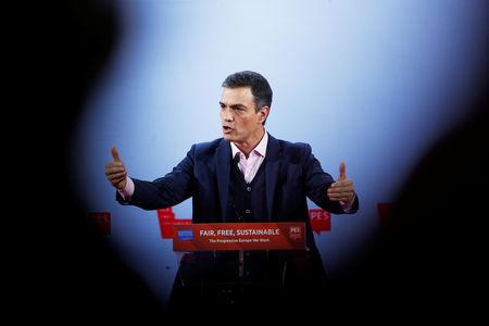 Spain's Prime Minister Pedro Sanchez speaks during the Party of European Socialists annual meeting in Lisbon