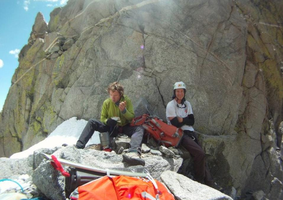 In this July 2012 photo provided by Galit Weiss, climber Gil Weiss, 29, left, and Ben Horne, 32, pose for a photo as they climb the Palcaraju Peak in Peru. Rescue coordinator Ted Alexander says a three-man team found the bodies of Weiss and Horne on Palcaraju in the Cordillera Blanca range on Saturday, July 28, 2012. Alexander says they died in a fall off a ridge after climbing the 20,000-foot (6,100-meter) west peak. (AP Photo/Courtesy of Galit Weiss)