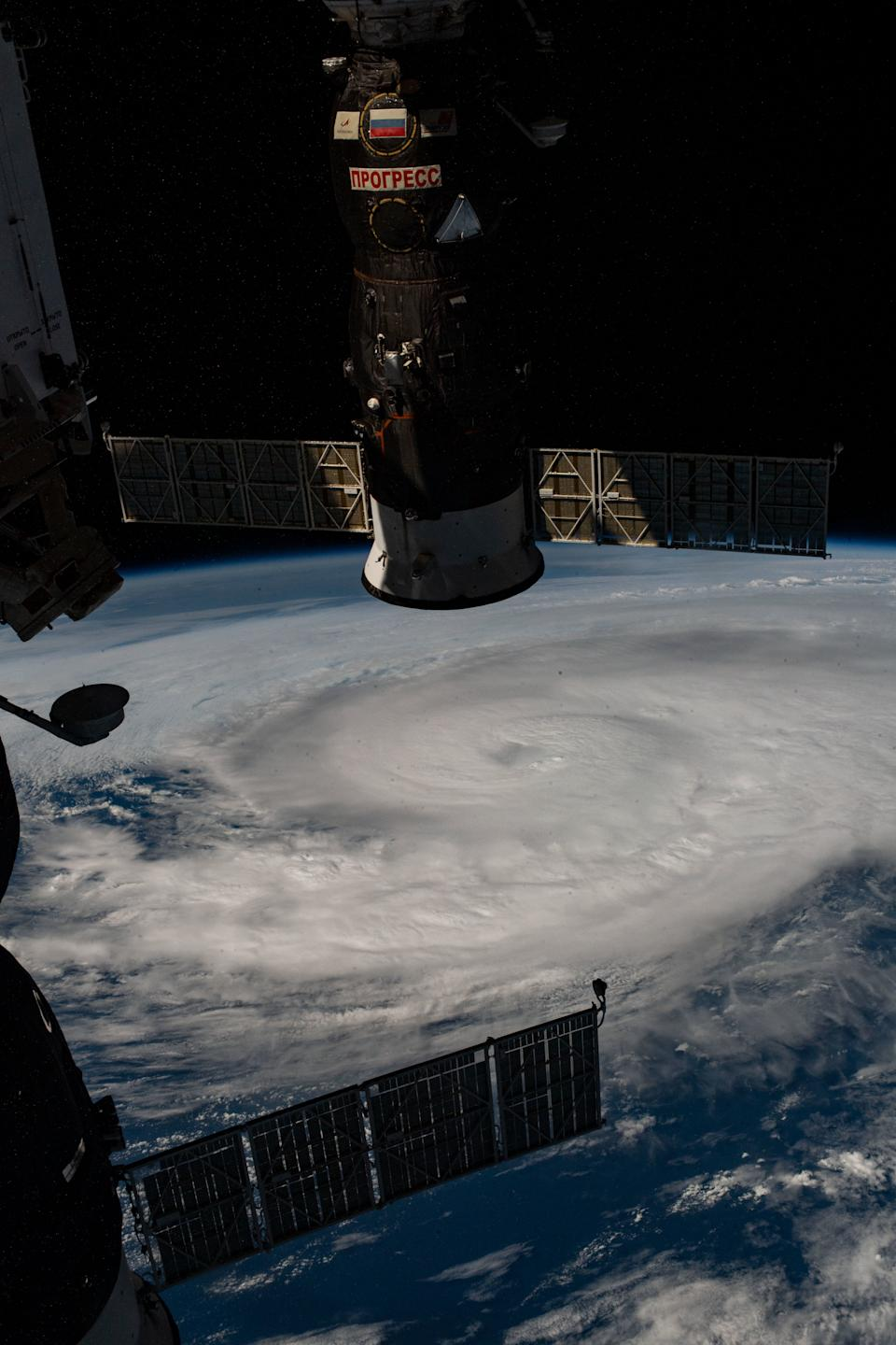Hurricane Zeta churns in the Gulf of Mexico in this view captured from the International Space Station on Wednesday (Oct. 28), as the Category 2 storm approached Louisiana. In the upper foreground of the image is Russia's Progress 76 cargo resupply spacecraft, which is docked to the Russian Pirs module. At the bottom of the frame is Russia's Soyuz MS-17 spacecraft, which brought three crew members to the space station on Oct. 14.