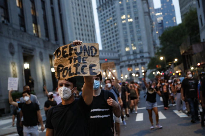 A march in support of the Black Lives Matter movement and other groups, in New York on July 30. (John Minchillo/AP)