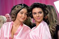<p>California natives Gigi Hadid and Kendall Jenner are both walking in the Victoria's Secret Fashion Show for the first time. The reality stars-turned-supermodels, who both have millions of Instagram followers, stuck close together while their hair sat in curlers backstage as two of the few newbies in the cast. </p>