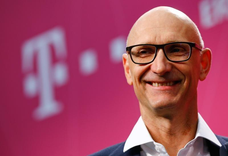 Hoettges, Chief Executive Officer of Germany's telecommunications giant Deutsche Telekom AG attends the company's annual news conference in Bonn