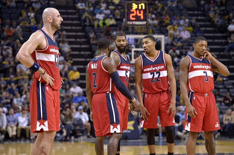 No lineup in the league has played more minutes this season than the Wizards' starting five. (AP)