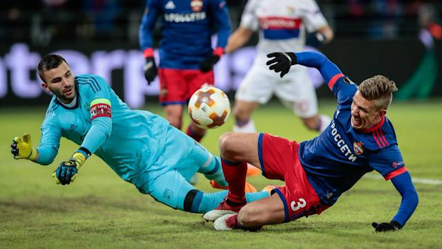 Marcelo's second-half header put Lyon in the box seat to advance from their Europa League last-16 tie against CSKA Moscow.