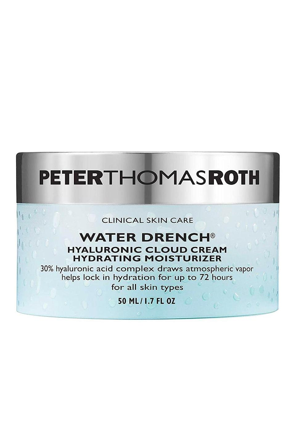 "<p><strong>Peter Thomas Roth</strong></p><p>beautybay.com</p><p><strong>$58.00</strong></p><p><a href=""https://go.redirectingat.com?id=74968X1596630&url=https%3A%2F%2Fwww.beautybay.com%2Fp%2Fpeter-thomas-roth%2Fwater-drench-hyaluronic-cloud-cream%2F&sref=https%3A%2F%2Fwww.cosmopolitan.com%2Fstyle-beauty%2Fbeauty%2Fg35492705%2Fhauliday-winter-skincare-deals-2021%2F"" rel=""nofollow noopener"" target=""_blank"" data-ylk=""slk:Shop Now"" class=""link rapid-noclick-resp"">Shop Now</a></p><p>The hero ingredient in this moisturizer? A whopping 30 percent <a href=""https://www.cosmopolitan.com/style-beauty/beauty/g28948492/best-hyaluronic-acid-serum/"" rel=""nofollow noopener"" target=""_blank"" data-ylk=""slk:hyaluronic acid"" class=""link rapid-noclick-resp"">hyaluronic acid</a>. The humectant is loved by dermatologists for its ability to draw moisture from the air into your skin for a plumping and hydrating effect that's both immediate and long-lasting.</p><p><strong>✨PROMOTION:</strong> Get 21 percent off with the code HAULIDAY</p>"