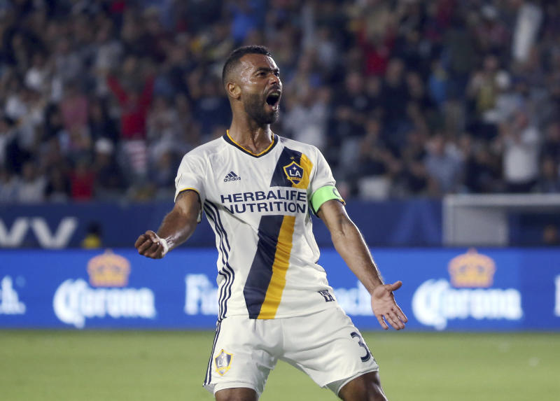 LA Galaxy defender Ashley Cole (3) celebrates his goal against Real Salt Lake in the first half of an MLS soccer match in Carson, Calif., Tuesday, July 4, 2017. (AP Photo/Reed Saxon)