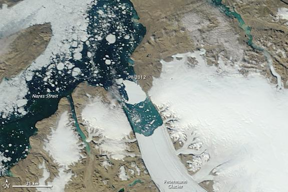 On July 31, 2012, a satellite showed the large iceberg had nearly reached the mouth of the fjord that houses Greenland's Petermann Glacier.