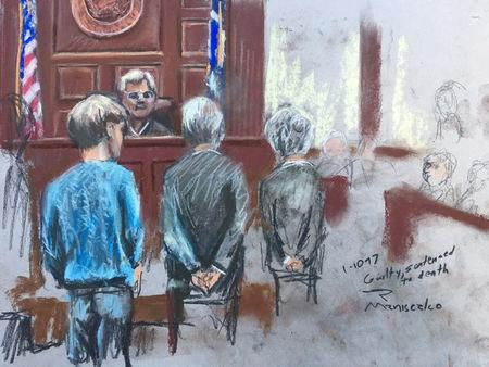 Dylann Roof (L), condemned to death by a jury for the hate-fueled killings of nine black parishioners at a Bible study meeting in 2015, is shown in this courtroom sketch in Charleston, South Carolina, U.S., January 10, 2017.   REUTERS/Rob Maniscalco