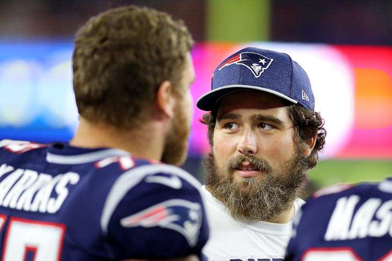 Patriots center David Andrews was recently hospitalized. (Getty Images)