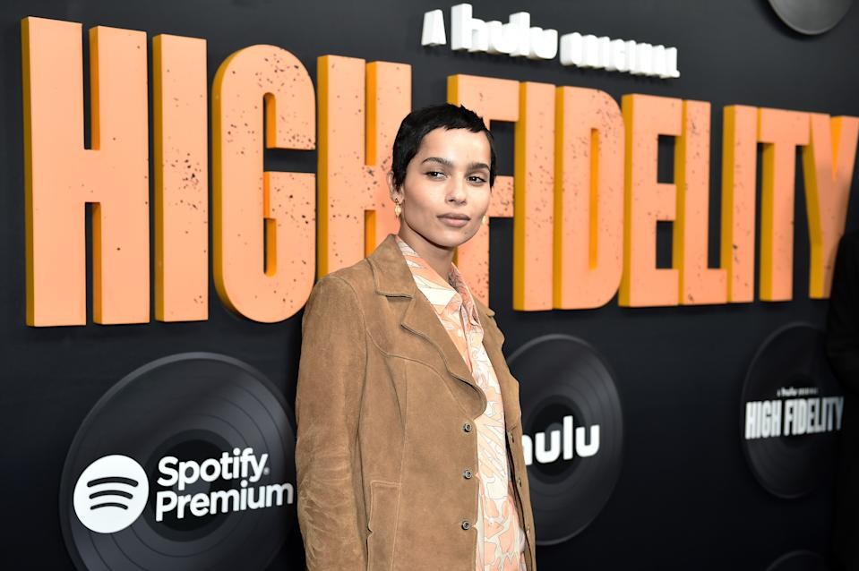 """NEW YORK, NEW YORK - FEBRUARY 13: Zoe Kravitz attends Hulu's """"High Fidelity"""" New York premiere at Metrograph on February 13, 2020 in New York City. (Photo by Steven Ferdman/Getty Images)"""