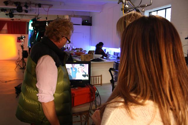 Watching the taping on a monitor