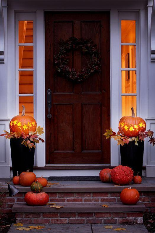 """<p>Bookend your front door with these enchanted glowing lanterns. Pro tip: Place them on top of tall planters to give them some height.</p><p><strong>Get the tutorial at <a href=""""https://www.goodhousekeeping.com/holidays/halloween-ideas/a24856/pumpkin-lanterns/"""" rel=""""nofollow noopener"""" target=""""_blank"""" data-ylk=""""slk:Good Housekeeping"""" class=""""link rapid-noclick-resp"""">Good Housekeeping</a>.</strong></p><p><strong><a class=""""link rapid-noclick-resp"""" href=""""https://go.redirectingat.com?id=74968X1596630&url=https%3A%2F%2Fwww.walmart.com%2Fsearch%2F%3Fquery%3Dplanters&sref=https%3A%2F%2Fwww.thepioneerwoman.com%2Fhome-lifestyle%2Fcrafts-diy%2Fg36982763%2Fpumpkin-carving-ideas%2F"""" rel=""""nofollow noopener"""" target=""""_blank"""" data-ylk=""""slk:SHOP PLANTERS"""">SHOP PLANTERS</a><br></strong></p>"""