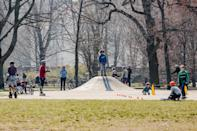 BERLIN, March 28, 2020. Children play at a park in Berlin, capital of Germany, March 28, 2020. (Photo by Binh Truong/Xinhua via Getty) (Xinhua/ via Getty Images)