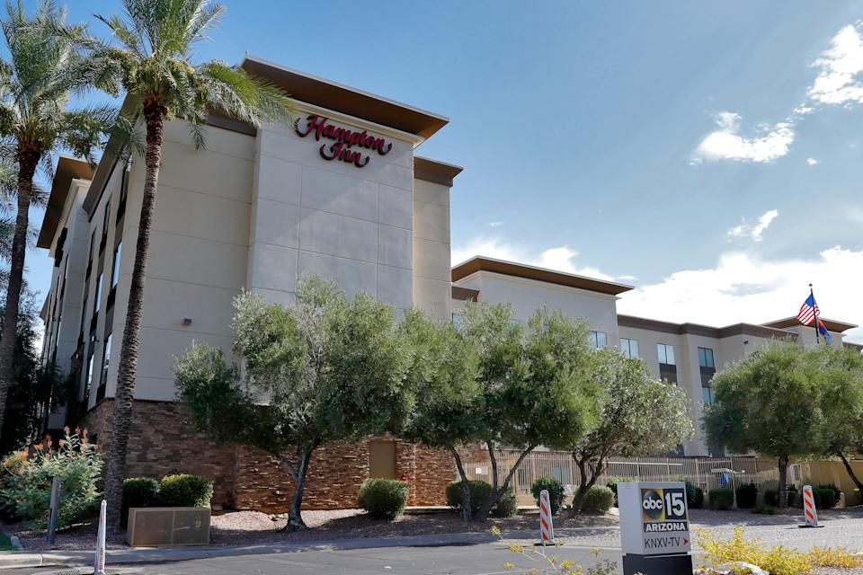 A Hampton Inn is shown July 21, 2020, in Phoenix. An Associated Press report alleges the Trump administration is detaining immigrant children as young as 1 in hotels before deporting them to their home countries.