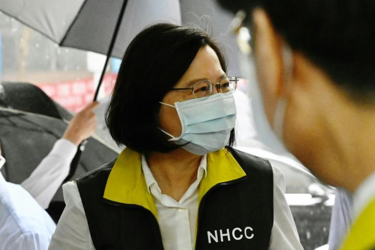 Taiwan President Tsai Ing-wen, whose response to the coronavirus pandemic has won wide praise, visits the island's Centers for Disease Control in May 2020