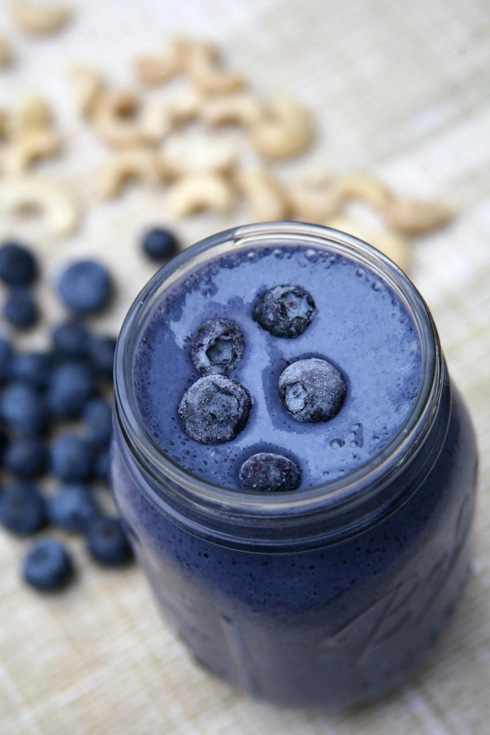 """<p>Sweet and creamy and such a gorgeous vibrant color, this sweet smoothie will remind you of cheesecake drizzled with blueberries.</p> <p><strong>Get the recipe:</strong> <a href=""""https://www.popsugar.com/fitness/Blueberry-Cheesecake-Smoothie-40681216"""" class=""""link rapid-noclick-resp"""" rel=""""nofollow noopener"""" target=""""_blank"""" data-ylk=""""slk:blueberry cheesecake smoothie"""">blueberry cheesecake smoothie</a></p>"""