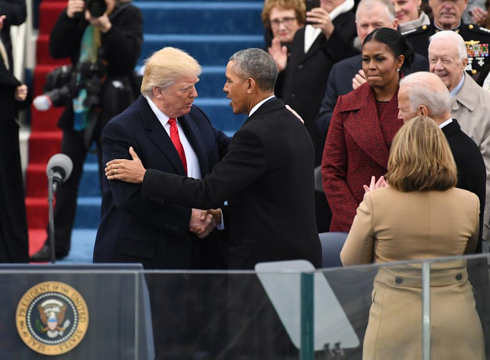 Obama and Trump at 2016 inauguration.
