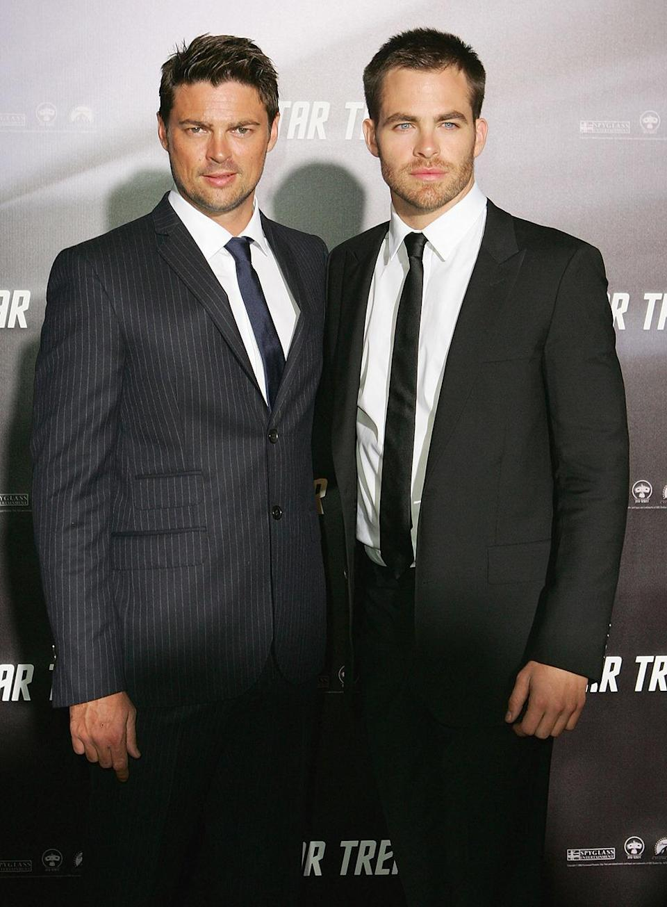 <p>Karl Urban (Dr. McCoy) and Chris Pine (James Kirk) arrive for the launch of J.J. Abrams' <i>Star Trek </i>reboot on April 7, 2009, in Sydney. <i>(Photo: Sergio Dionisio/Getty Images)</i></p>