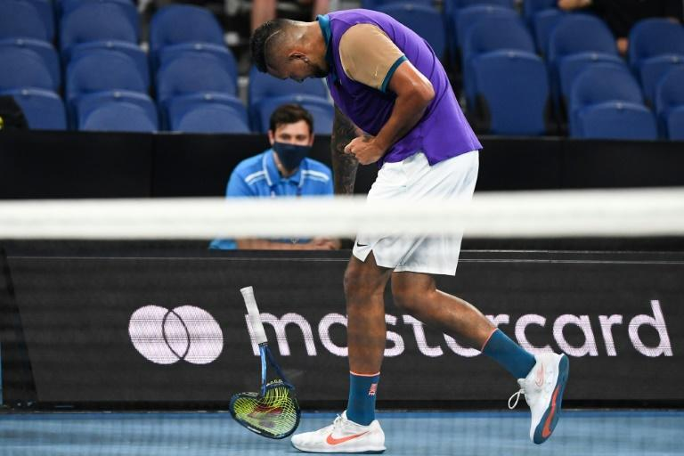 Nick Kyrgios smashes his racquet in a dislpay against Ugo Humbert that seemd to have everything, tantrums, tweeners and rip-roaring drama
