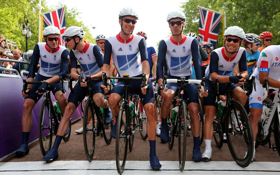 Ian Stannard (left) with Chris Froome, Bradley Wiggins and David Millar at the 2012 London Olympic Games - GETTY IMAGES
