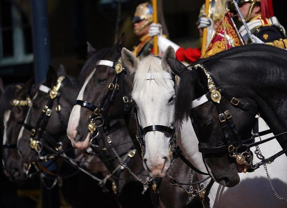Members of the Household Cavalry in the courtyard of the Royal Mews, Buckingham Palace (Yui Mok/PA) (PA Wire)