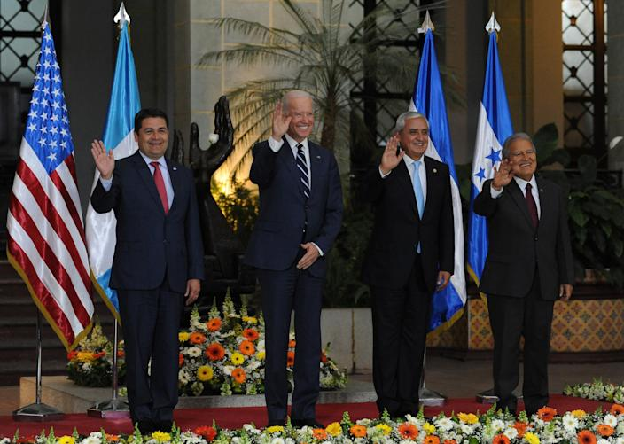 From left, Honduran President Juan Orlando Hernández, Joe Biden, Guatemalan President Otto Pérez Molina and Salvadoran President Salvador Sánchez Cerén in 2015. (Photo: Johan Ordonez/AFP/Getty Images)