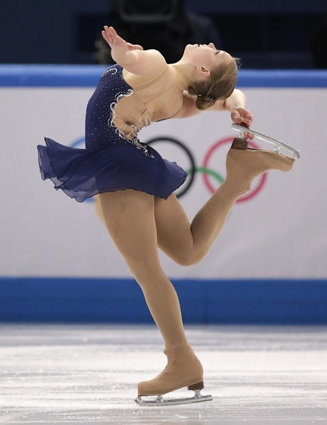 Nicole Rajicova of Slovakia competes in the women's short program figure skating competition at the Iceberg Skating Palace during the 2014 Winter Olympics, Wednesday, Feb. 19, 2014, in Sochi, Russia. (AP Photo/Bernat Armangue)