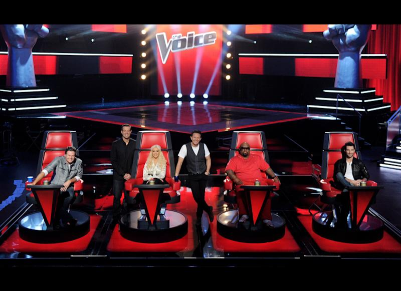 Singer Blake Shelton, host Carson Daly, singer Christina Aguilera, executive producer Mark Burnett, singers Cee Lo Green and Adam Levine appear at a press junket for NBC's 'The Voice' at Sony Studios on October 28, 2011 in Culver City, California. (Getty)