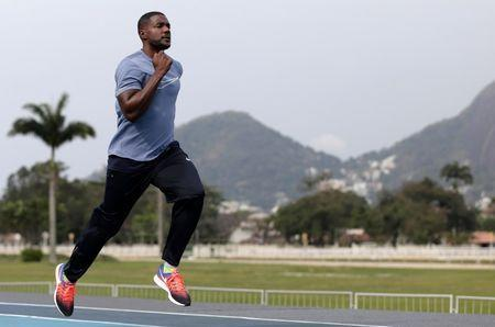 "Justin Gatlin of the U.S. trains ahead of the ""Mano a Mano"" challenge, a 100-meter race, at the Brazilian Jockey Club in Rio de Janeiro, Brazil, September 29, 2017. REUTERS/Bruno Kelly"