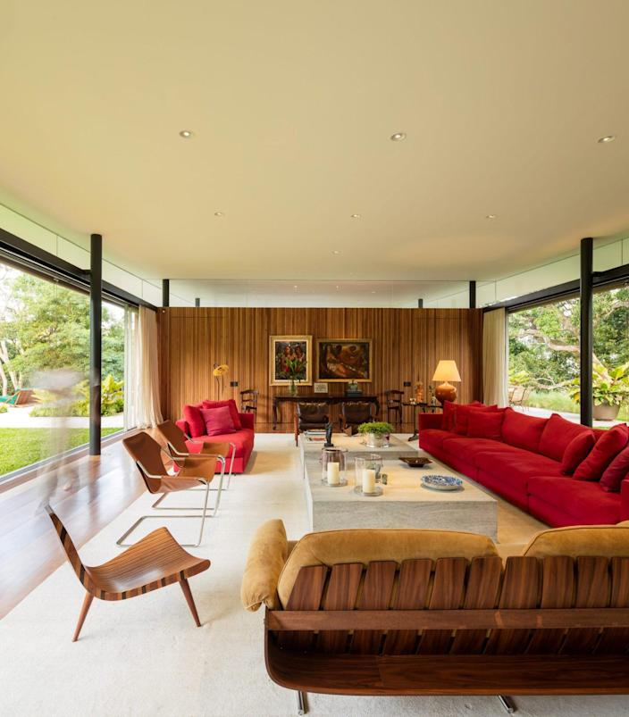 Spacious modern living area in the Asa House affords plenty of breathtaking views out into the natural surroundings.
