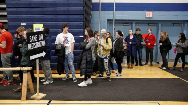 PHOTO: New voters, including many University of New Hampshire students, stand in line to fill out voter registration forms in Durham, New Hampshire, Nov. 6, 2018. (Elizabeth Frantz/Reuters)