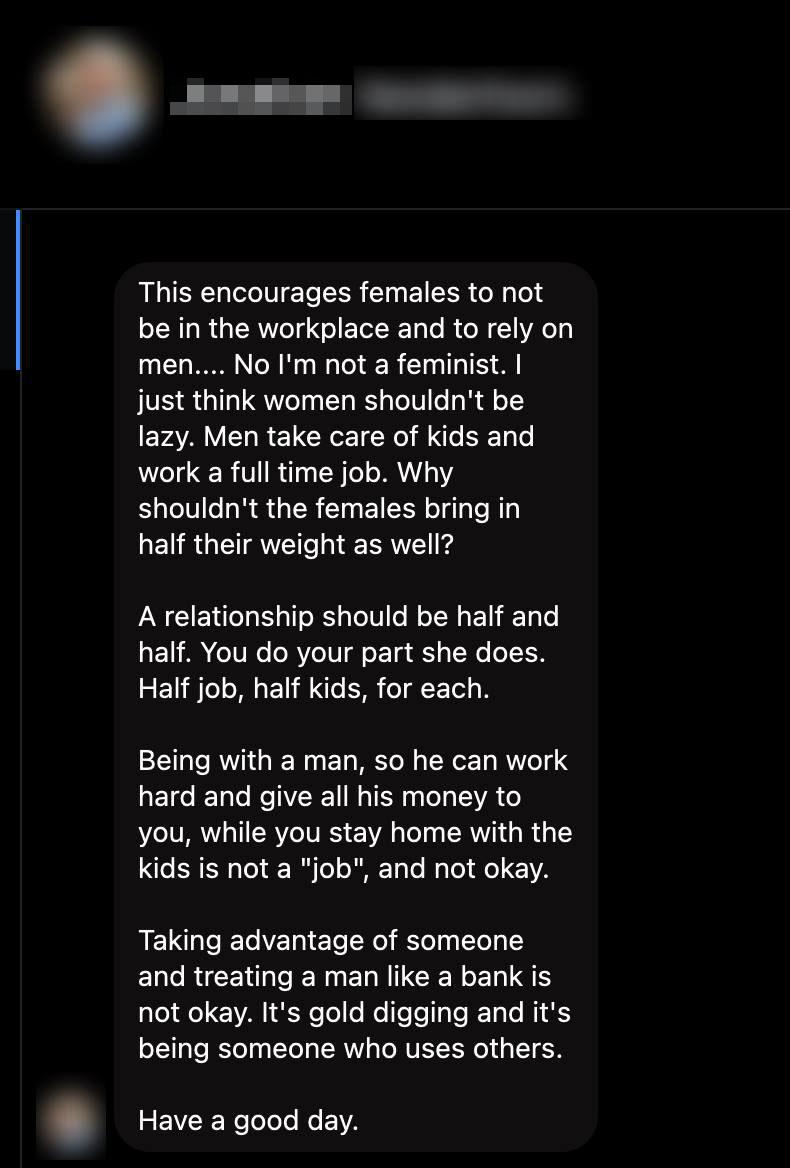 A screenshot of a message from a male Facebook user to the Facebook page Stay At Home Mum. Photo: Facebook.