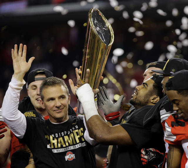 Urban Meyer and Ohio State won the College Football Playoff after the 2014 season. (AP Photo/Eric Gay, File)