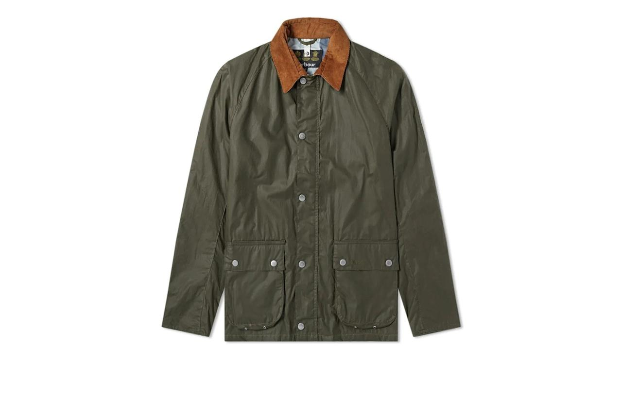 """$245, End Clothing. <a href=""""https://www.endclothing.com/us/barbour-rothay-waxed-jacket-mwx1520ol51.html"""">Get it now!</a>"""