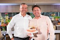 EDITORIAL USE ONLY Andy Clarke, President and CEO Asda, and television chef James Martin announce James' partnership with Asda, at the InterContinental London Park Lane, which aims to demonstrate to families that quality food can be accessible and affordable.