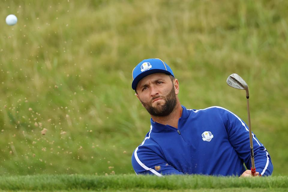 KOHLER, WISCONSIN - SEPTEMBER 21: Jon Rahm of Spain and team Europe plays his shot from the bunker prior to the 43rd Ryder Cup at Whistling Straits on September 21, 2021 in Kohler, Wisconsin. (Photo by Andrew Redington/Getty Images)